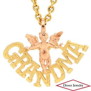 Estate 14K Gold Two Tone Grandma Cherub Angel Pendant NR