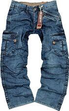 TIMEZONE Herren Cargo Jeans Hose Benito Blau Cargohose 26-5438 Worker Jeanshose