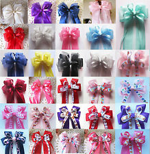 New Large Handmade Lace Character Girls Ribbon Ponytail Hair Bow Clips Barrettes