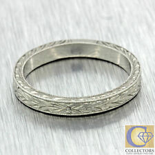 1920s Antique Art Deco Platinum 3mm Hand Engraved Wedding Band Ring