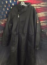 Triple FAT Goose Black Leather Overcoat Winter Coat Goose Down Lining Size Large