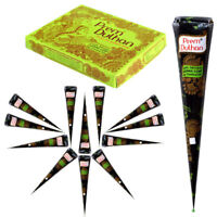 Prem Dulhan Brand 28 gm Natural Henna Mehandi Cone, Black-Brown Color, 3 Pcs.