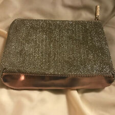 """Lancome Paris Gold shimmery bling 8"""" x 5"""" zippered makeup cosmetic bag NEW"""