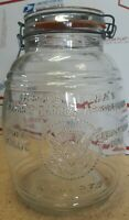 Uncle Ezra's Cracker Barrel Cookie Glass Canister Jar 4 Quarts 1966 Italy