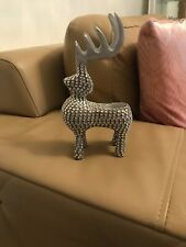 Silver Sparkly Reindeer Tea Light Candle Holder
