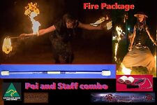 Awesome Fire twirling Package deal. Staff and Poi. yellow grip Silver highlights