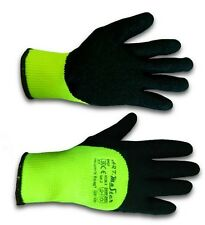 12 PAIRS WARM LATEX COATED HIGH VIS GLOVES BUILDERS YELLOW GRIP FINGERS COATED