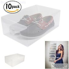 Stackable Clear Plastic Shoe Box Foldable Storage Closet Organizer 10 Pack