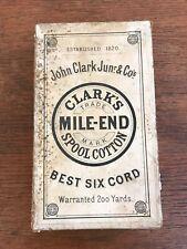 Distressed Antique Clark's Mile End Spool Cotton Thread Advertising Box (Empty)