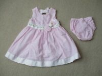 Toddler Girls 18 Month Pink Gingham Two Piece Dress Diaper Cover Rare Editions