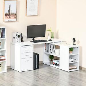 L-Shaped Computer Desk Home Office Corner Desk Study Workstation Table Storage