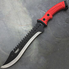 "16"" FULL TANG RED SHARPENED MACHETE KNIFE w/ SHEATH Hunting Survival Fixed Blade"