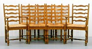 WILLIS AND GAMBIER SET OF 8 CHAIRS INCLUDING TWO CARVERS ON WOVEN RUSH SEATING