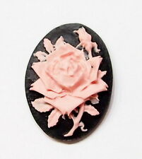 6 of 18x13 mm Pink over Black Rose & Bud Cameos for Pendants Charms Earrings