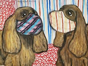 SUSSEX SPANIEL Collectible Dog Art Print 8x10 Signed by Artist KSams Quarantine