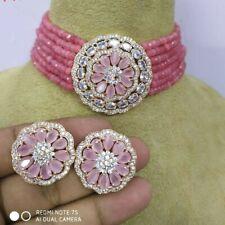 Indian Kundan Choker Pink Necklace Earrings Party Wear AD CZ Fashion Jewelry Set