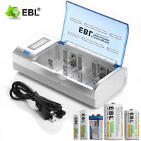 EBL LCD Battery Charger For 9V AA AAA C D Ni-MH Ni-CD Rechargeable Batteries US