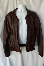 Squire Shop leather motorcycle Bomber jacket Brown coat size 44 see measurements