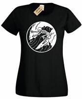 Womens Surfing Skeleton T-Shirt surfer skull board beach wave ladies