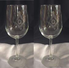 Masonic Laser Engraved 16 oz. wine glasses (Set of 2) Great gift idea