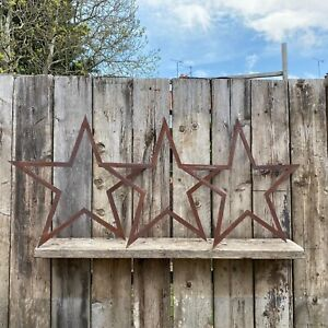 SPECIAL OFFER , 3 XL Rusty Metal BARN STARS Garden Ornaments decorations feature