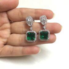 4Ct Princess Cut Green Emerald Halo Drop & Dangle Earring's 14K White Gold Over