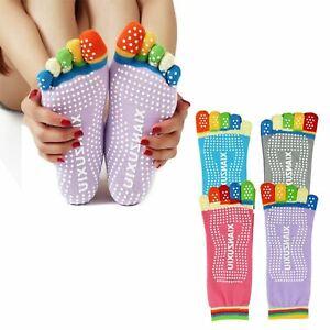 Non Slip Skid Pilates Yoga Socks Anti-Slip Full Toe with Grips Cotton