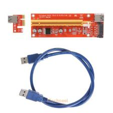 PCI-E Express 1x To 16x Adapter Riser Card Extension Powered USB 3.0 15Pin Cable