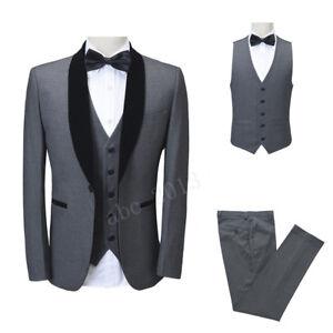 Men's Gray 3 Piece Slim Fit Suit Velvet Lapel Wedding Dinner Business Prom Suit