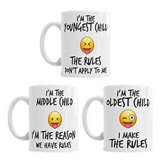 Youngest Middle Oldest Child Rules Mugs