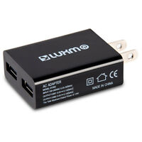 Black Dual USB AC Adapter 2.1A Home Travel Wall Charger For iphone Samsung