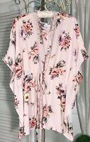 NEW Plus Size 2X Pink Floral Lace Tie Kimono Topper