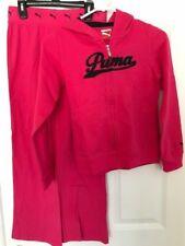 PUMA NWT Girl 2PC Logo Hoodie Jacket Yoga Pants Pink Black Sweat shirt L 14 TWIN