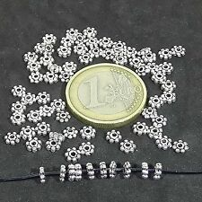 450 Abalorios Daisy 4mm T319H  Plata Tibetano Faceted Beads Perline Argento