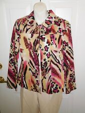 Additions By Chicos Yellow Hot Pink Leopard Blazer Career Jacket Size 1 (M/8)