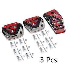 3 x Nonslip Car Accelerator Clutch Brake Foot Pedal Cover Set Treadle Chrome Red