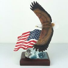 "Bald Eagle & Flag American Pride - Detailed Figurine Miniature 8.5""H New in Box"