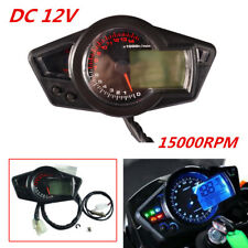 DC 12V Motorcycle 15000RPM LCD Digital Odo Speedometer Tachometer Gauge kmh/mph