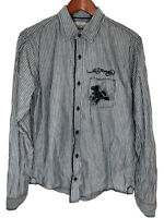 Ed Hardy Mens Small S Grey Striped Long Sleeve Flip Cuff Embroidered Shirt