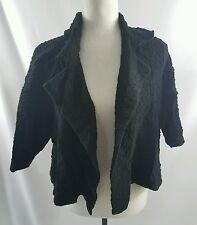 Eileen Fisher Womens Black Short Sleeve Open Cropped Jacket Bolero Coat Large