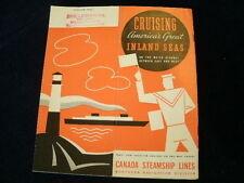 Vintage 1940 Canada Steamship Lines Cruising America's Inland Seas Brochure R258