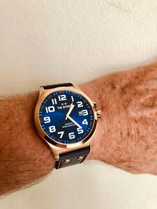 New TW Steel 48mm Brilliant Blue Pilots watch TW 405, blue leather strap in box.