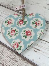 SHABBY CHIC Cath Kidston Decoupage Wood Heart 8cm Provence Blue Rose Gift Home