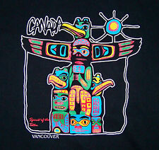 CANADA VANCOUVER / SPIRIT OF THE TOTEM / NATIVE / BLACK T-SHIRT SIZE L