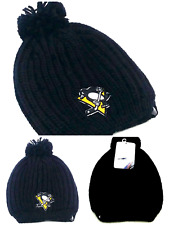 Pittsburgh Penguins New Ladies Women Fanatics Beanie Black Ribbd Pom Era Hat Cap