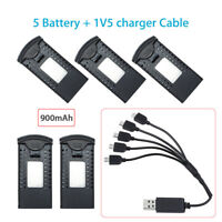 5Pcs 900mAh Lithium Battery + 1V5 Charger Cable For SG700/DM107S/S169 FPV Drone