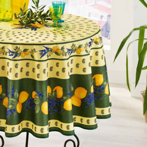 """Made in France NWT FRENCH PROVENCAL COTTON 71/"""" ROUND TABLECLOTH TISSUS TOSELLI"""