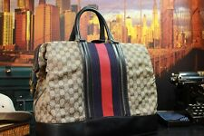 "GUCCI 17"" Navy Red Cabin Travel Gladstone Duffle Weekend Large Mens Carryall Bag"