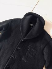 Polo Ralph Lauren Black Wool Varsity Cardigan  VTG RRL Shawl Letterman XL Knit