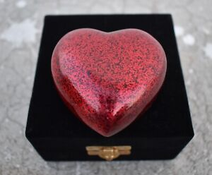 Decorative Red Heart Small Keepsake Box Urn Human Ashes with Velvet Carry Box